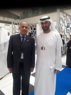 "Mr. Medhat Hassan ""Managing Director"" , as well as he meets Dr. Sultan Ahmed Al Jaber, UAE Minister of State and ADNOC Group CEO & take a photo with him."